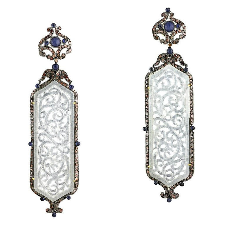 Long Jade Earring with Diamonds and Sapphire around