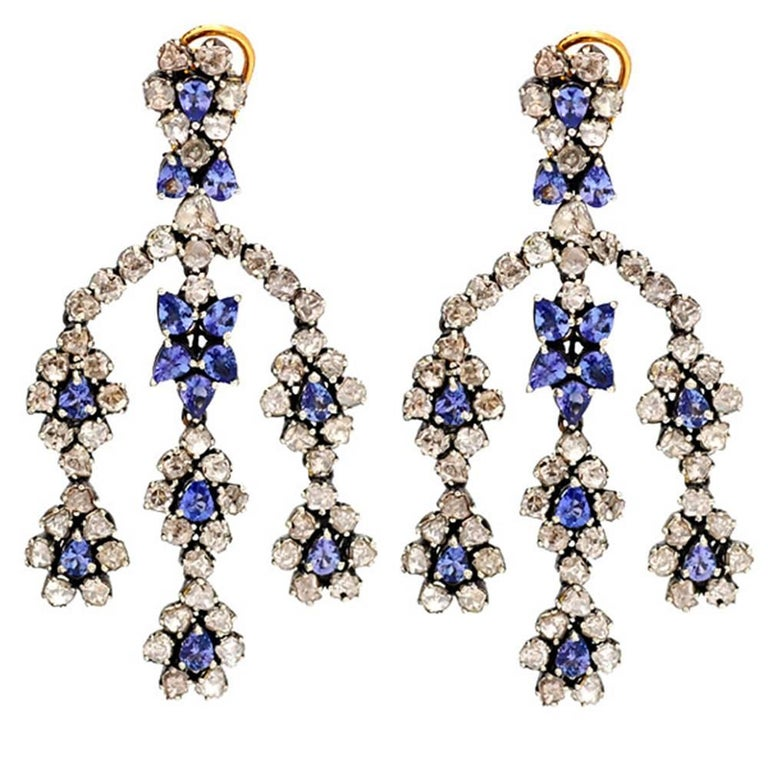 Diamond And Sapphire Chandelier Earring