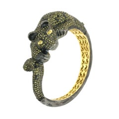 Diamond and Yellow Sapphire Panther Bangle