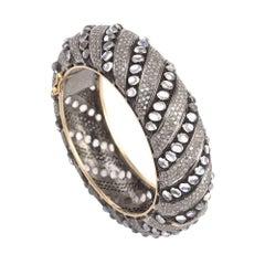 Bold Moonstone and Diamond Bangle
