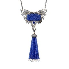 Carved Tanzanite Tassel Necklace with Diamonds and Sapphires