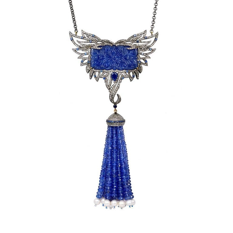 Carved Tanzanite Tassel Necklace with Diamonds and Sapphires For Sale