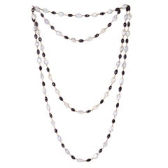 Pearl and Ice Diamond Chain Necklace