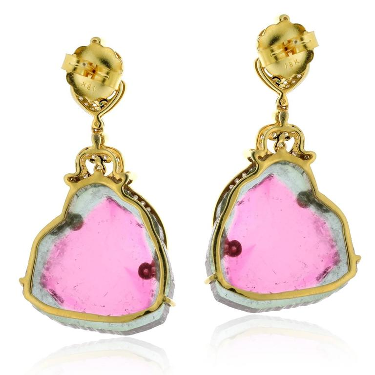 Contemporary Ravishing Watermelon Tourmaline Gold Drop Earrings For Sale