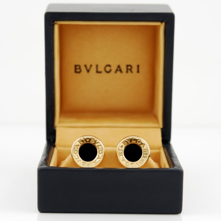 BVLGARI-BVLGARI Onyx Gold Stud Earrings 3