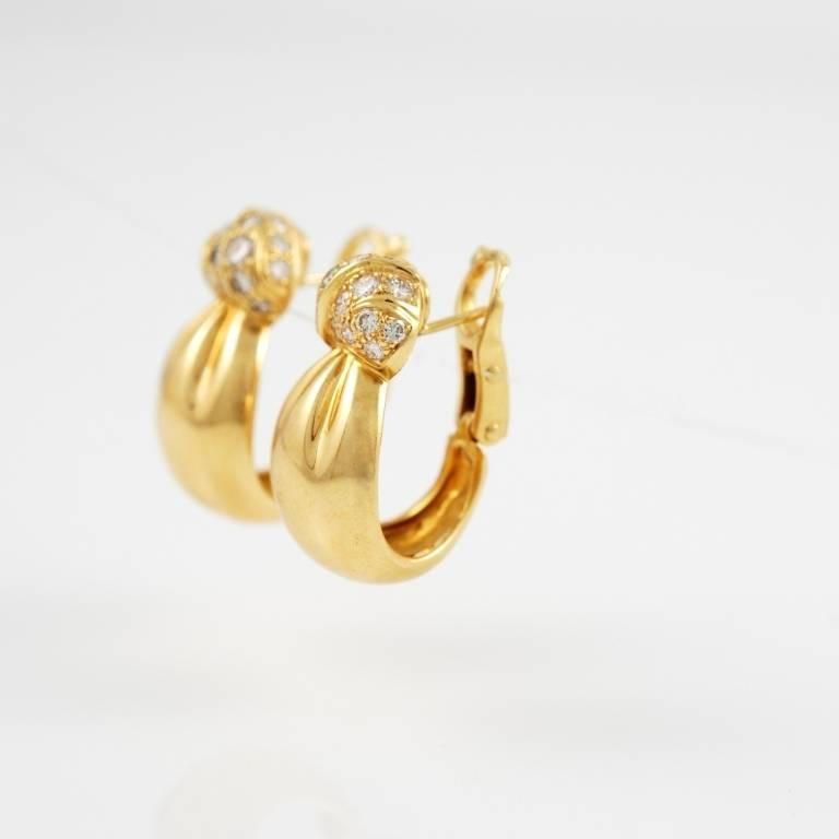 Van Cleef & Arpels Yellow Gold and Diamond Earrings 2