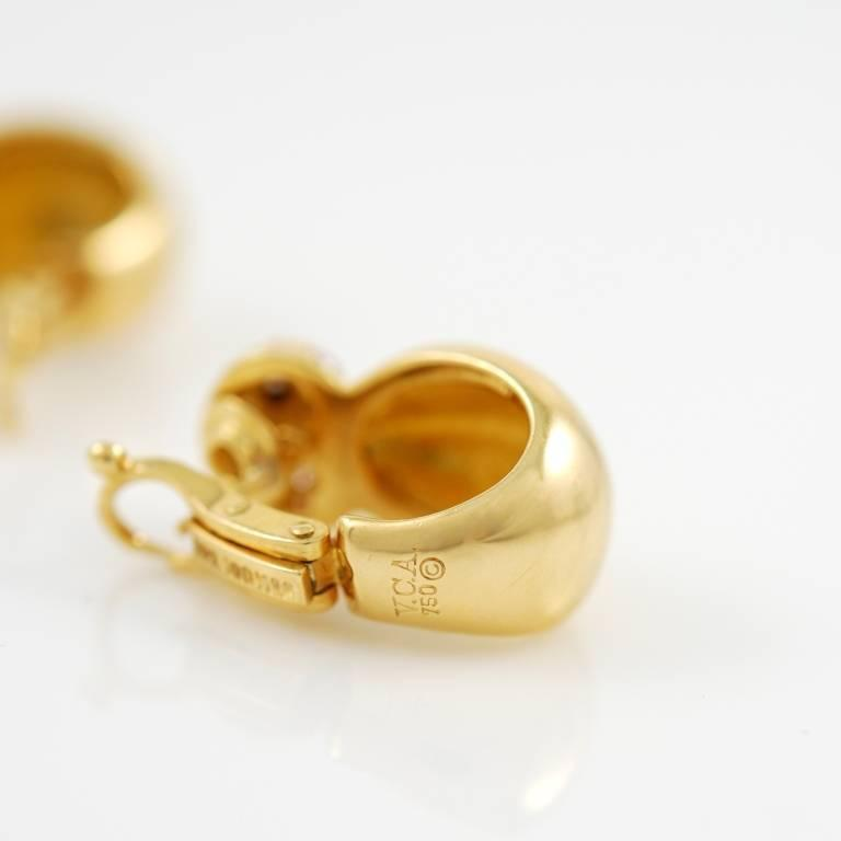 Van Cleef & Arpels Yellow Gold and Diamond Earrings 3
