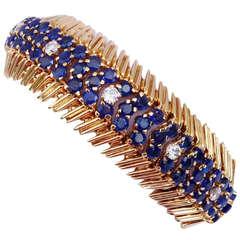 Tiffany & Co. Mid-Century Sapphire Diamond Gold Bracelet