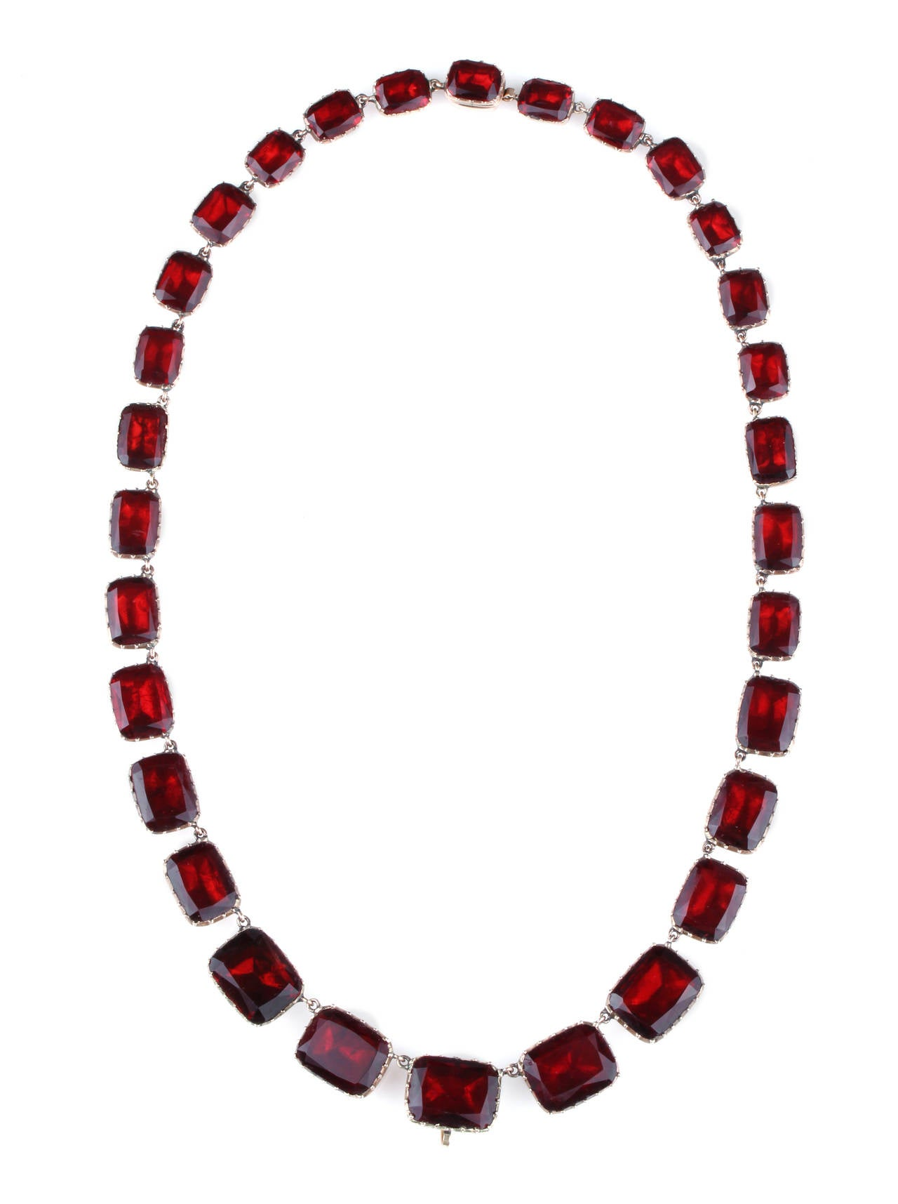 Georgian Garnet Paste Gold Riviere Necklace 1