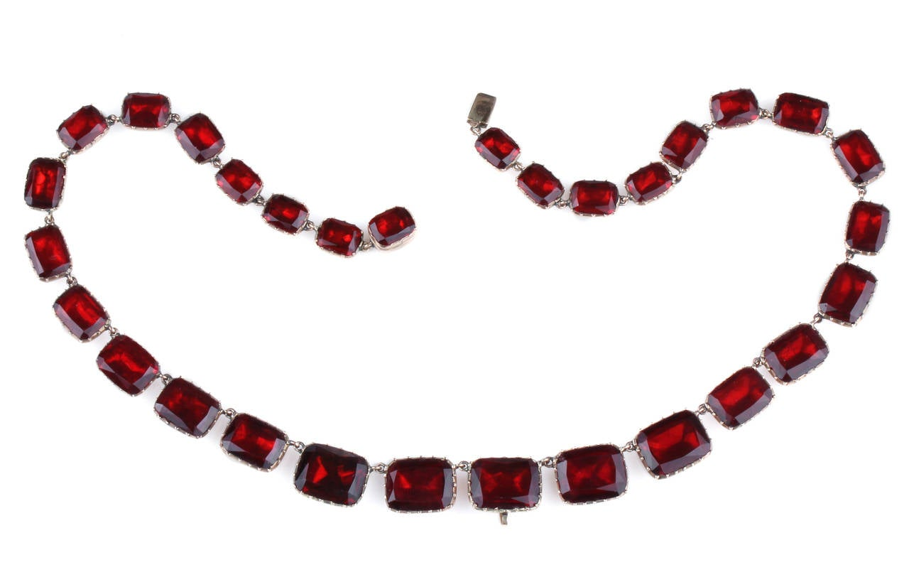 Georgian Garnet Paste Gold Riviere Necklace 2