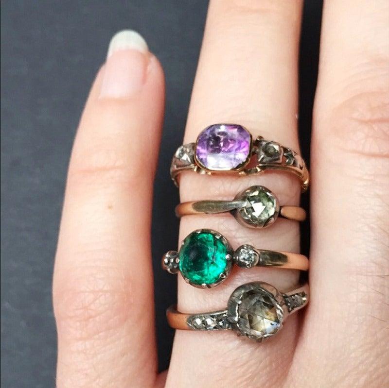 Georgian Era Emerald Diamond Platinum Ring 5