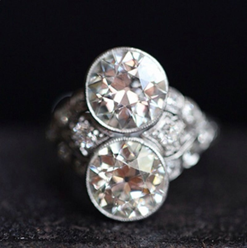 Art Deco Two Stone Diamond Platinum Ring 4