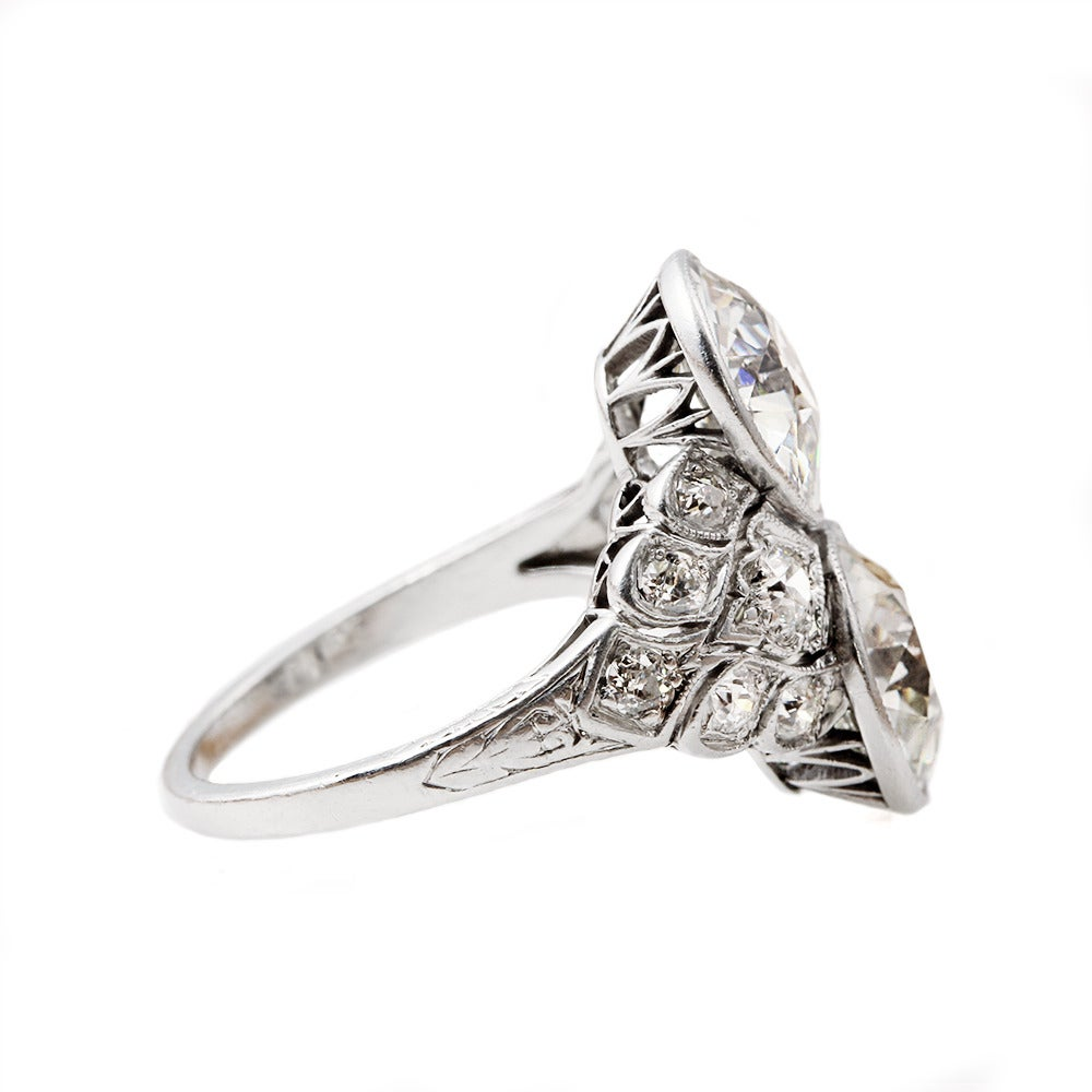 Art Deco Two Stone Diamond Platinum Ring 2