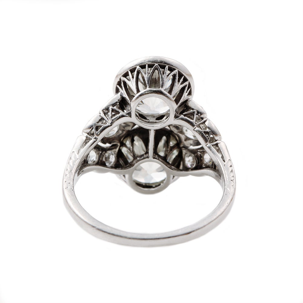 Art Deco Two Stone Diamond Platinum Ring 3