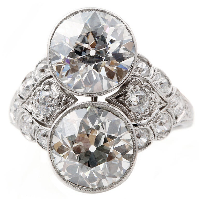 Art Deco Two Stone Diamond Platinum Ring 1