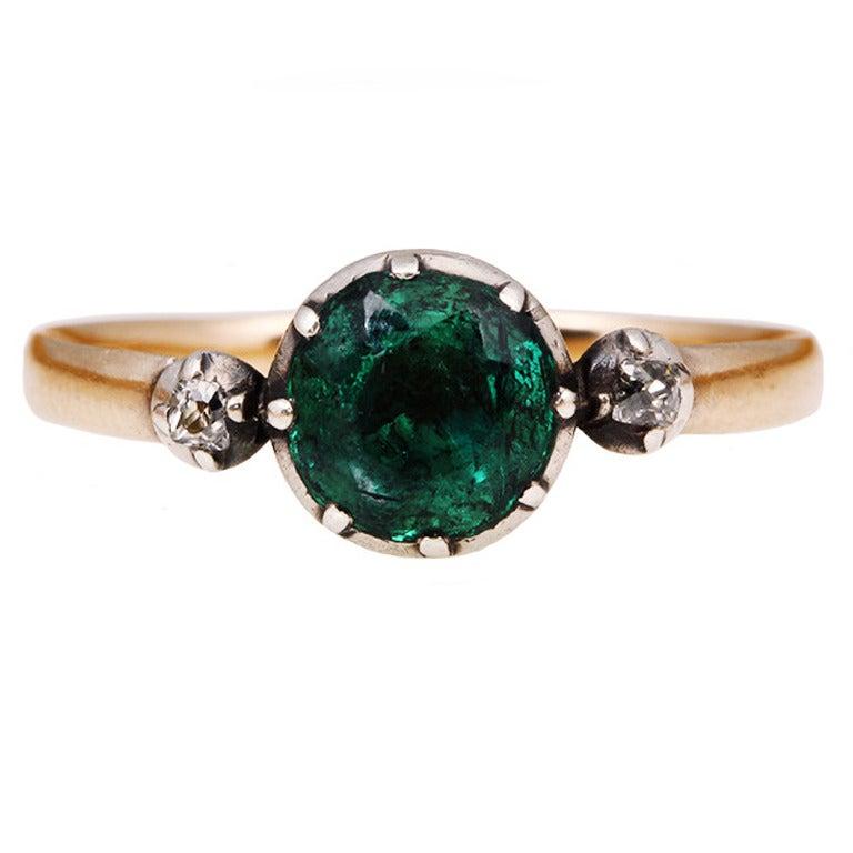 Georgian Era Emerald Diamond Platinum Ring 1