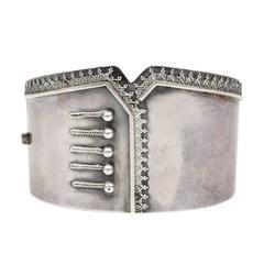 Victorian Silver Corset Bangle
