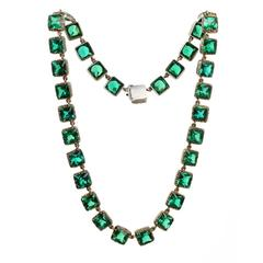 Victorian Green Emerald Paste Rivière Necklace