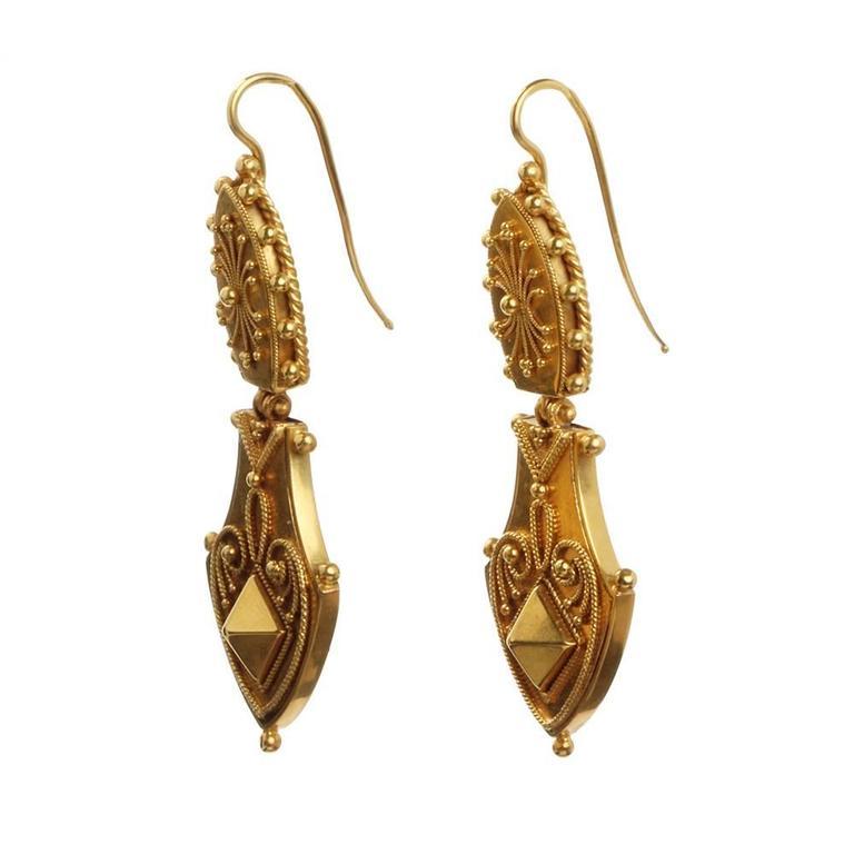 Victorian Era Etruscan Revival Earrings 2