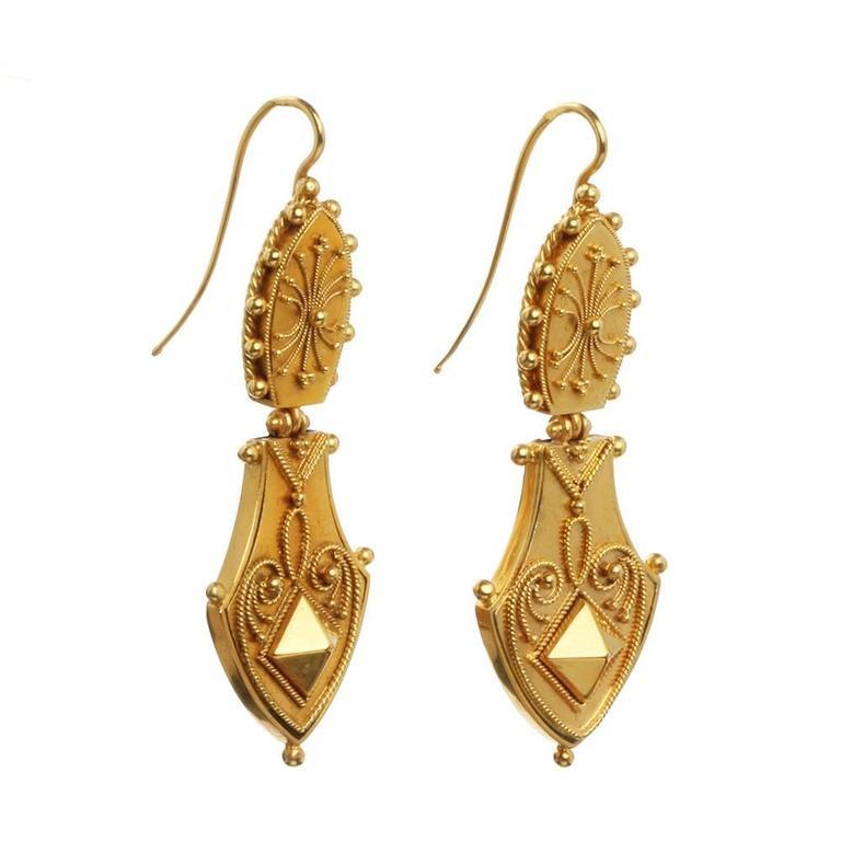 Victorian Era Etruscan Revival Earrings 4