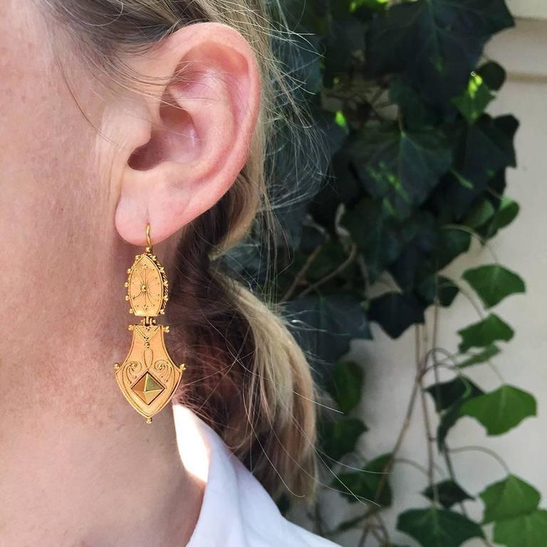 Victorian Era Etruscan Revival Earrings 5