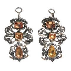 18th Century Iberian Pendeloque Topaz Diamond Earrings