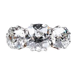 Antique English Victorian Three Stone Diamond Ring