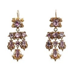 19th Century Gold Cannetille Pink Topaz Earrings