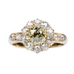 19th Century Yellow Diamond Cluster Engagement Ring