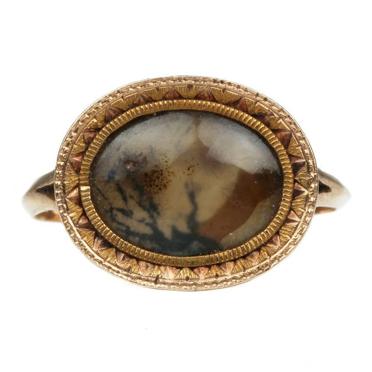 Late 18th Century Moss Agate Ring At 1stdibs