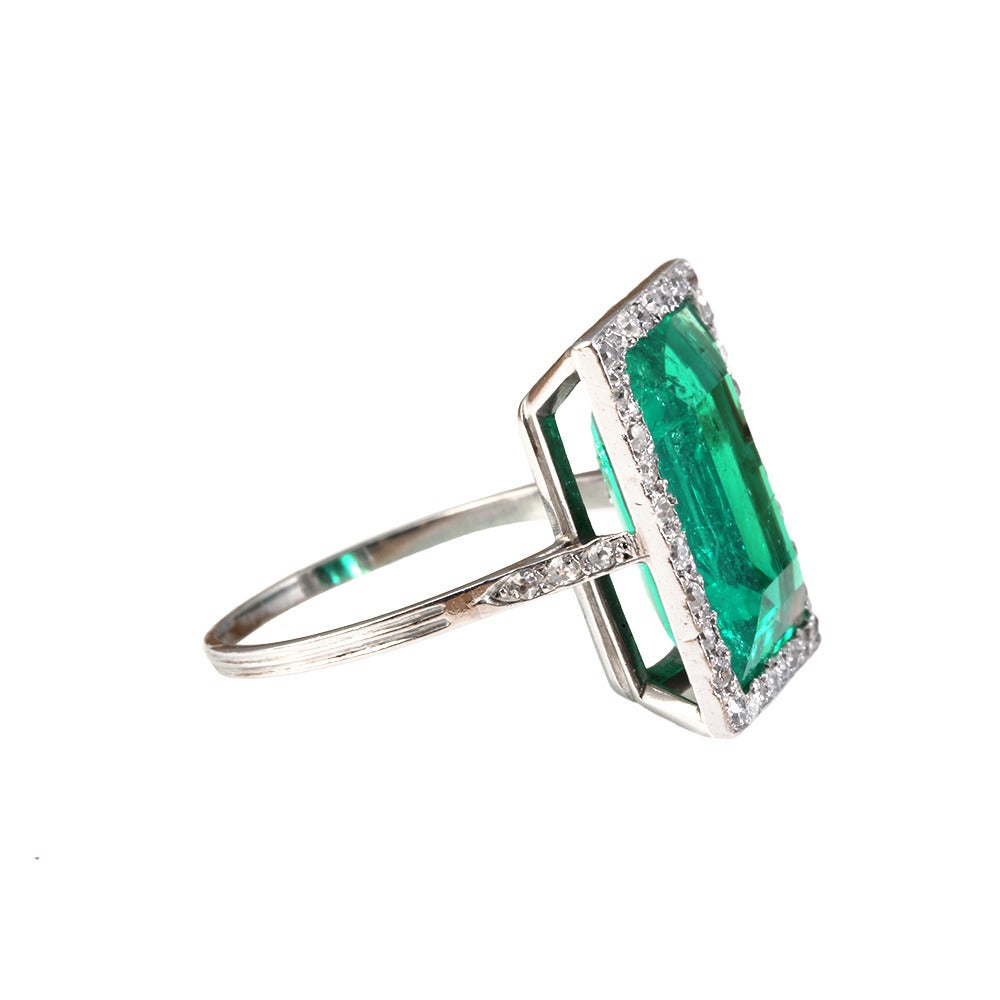 Edwardian Emerald Diamond Platinum Ring 2