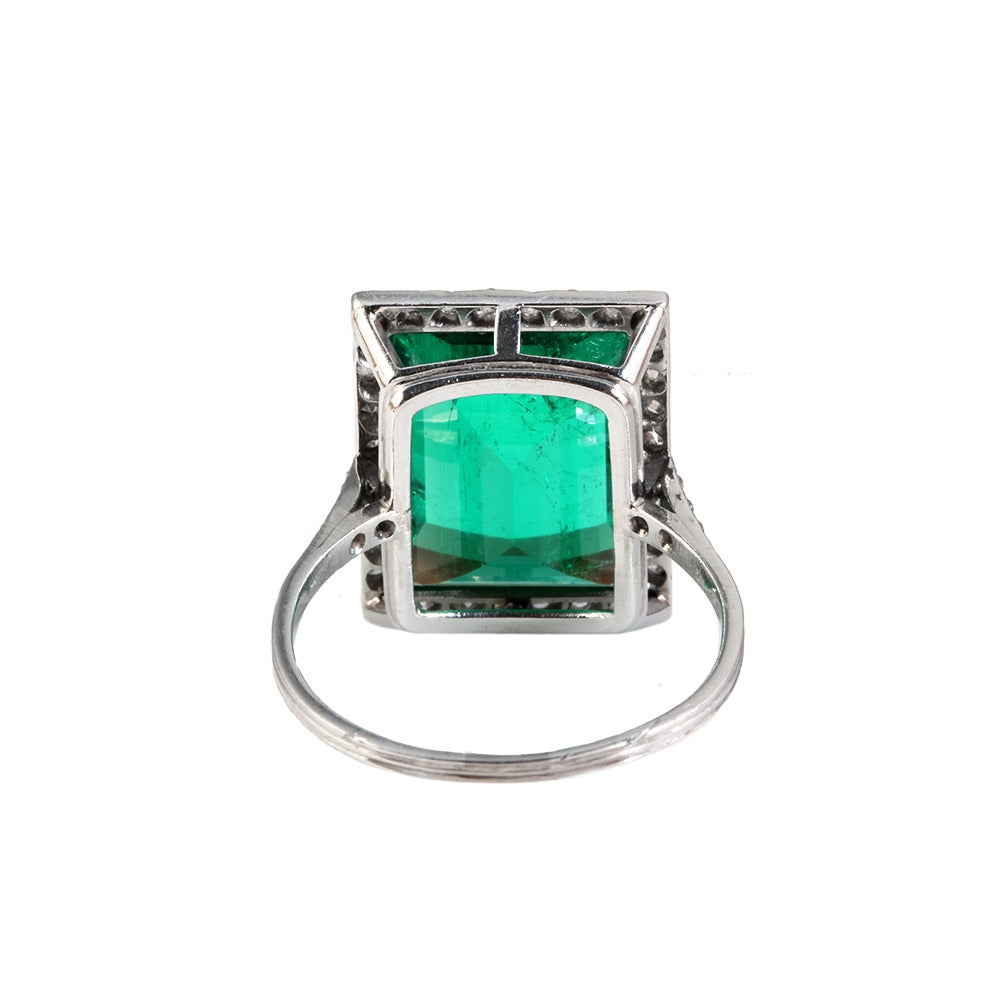 Edwardian Emerald Diamond Platinum Ring 3