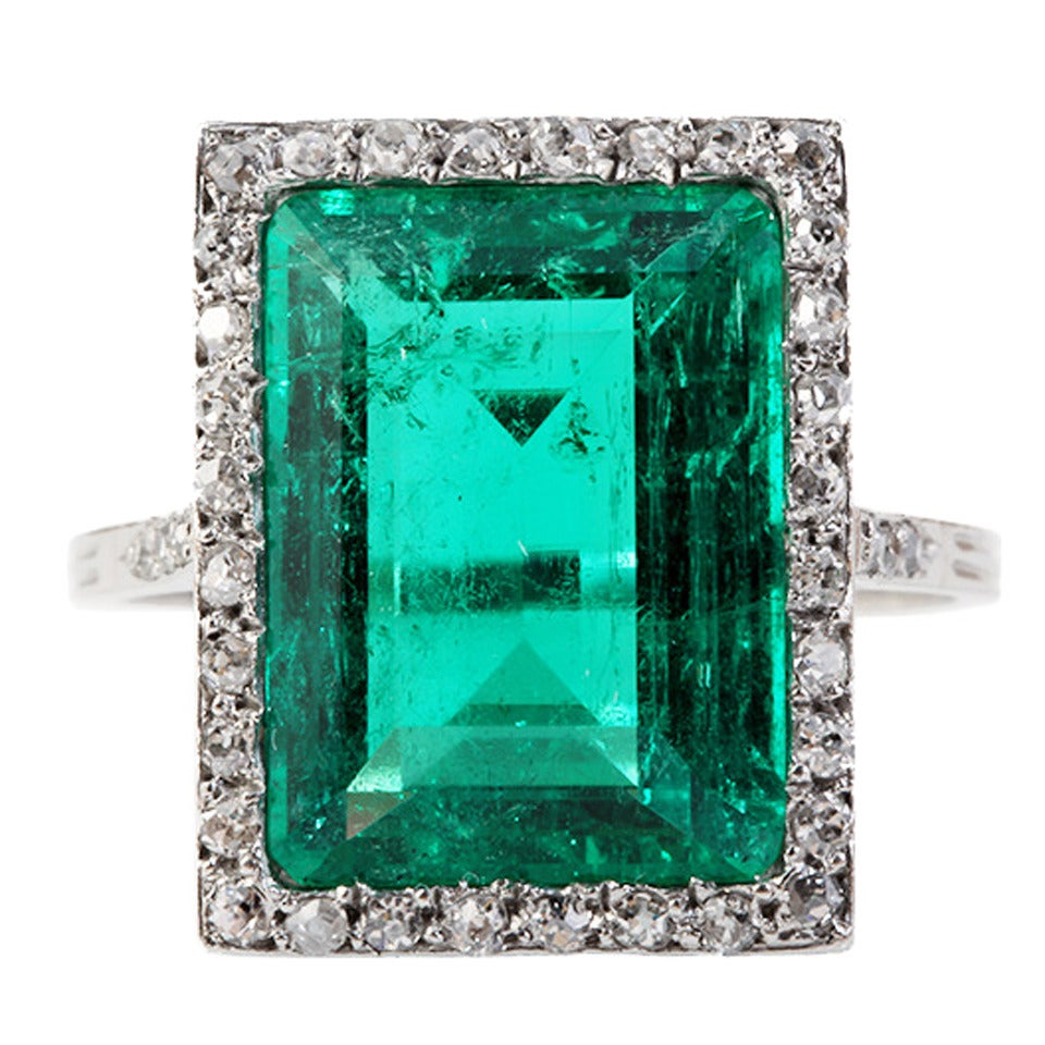 Edwardian Emerald Diamond Platinum Ring 1