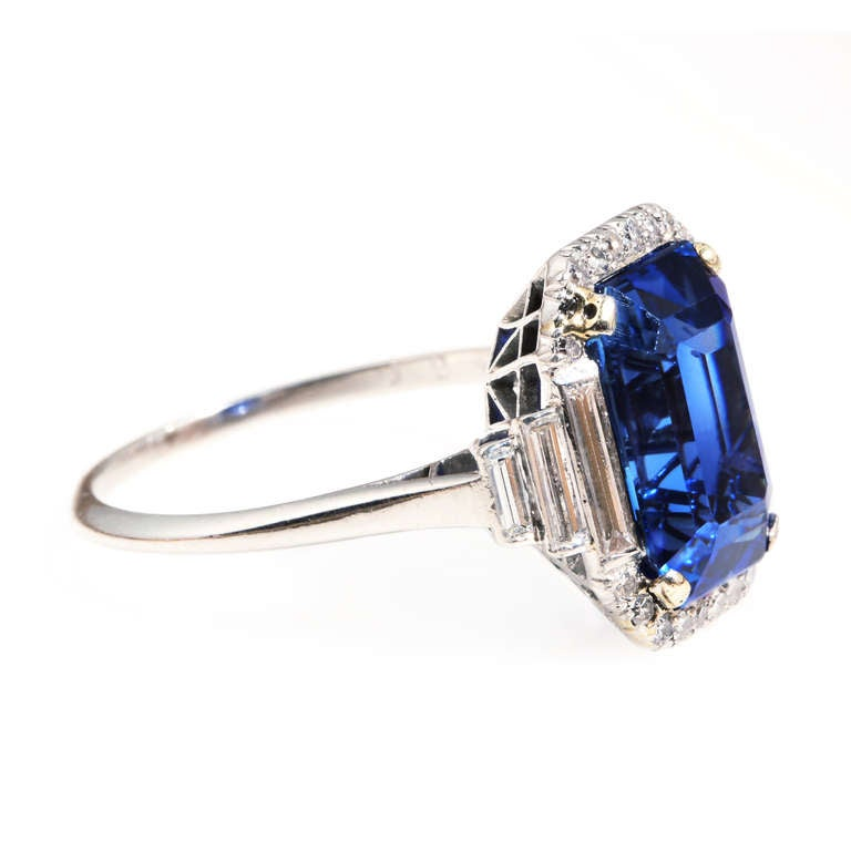 Art Deco Natural Sapphire Diamond Ring 2