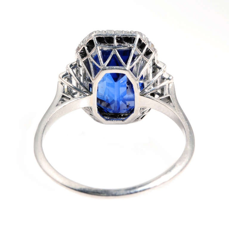 Art Deco Natural Sapphire Diamond Ring 3