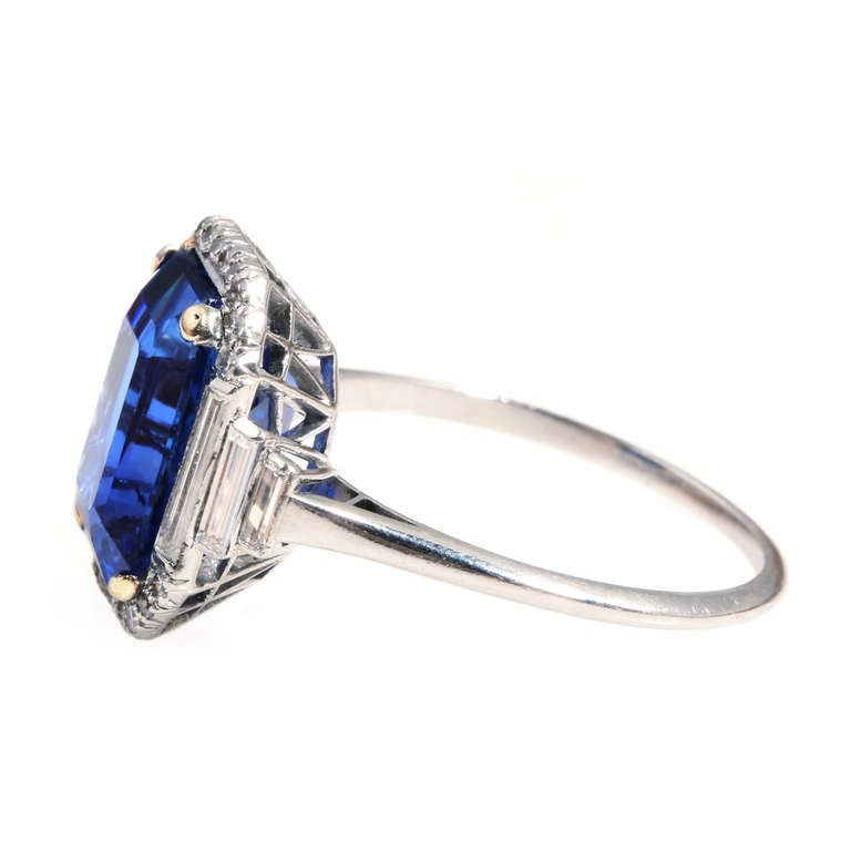 Art Deco Natural Sapphire Diamond Ring 4