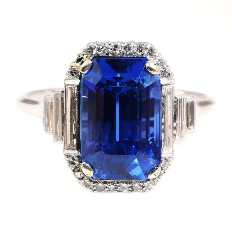 Art Deco Natural Sapphire Diamond Ring 1