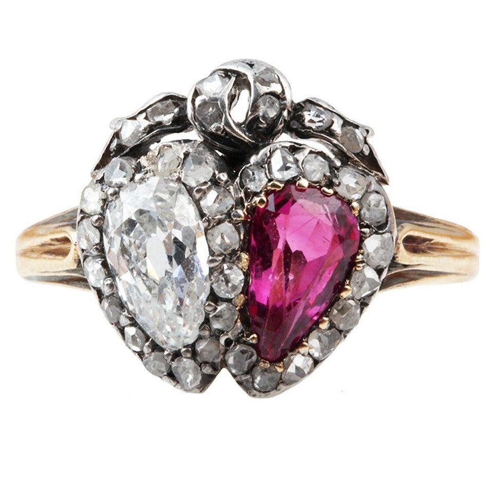 Victorian Era Old Mine Cut Ruby Diamond Silver Gold Twin Heart Ring 1