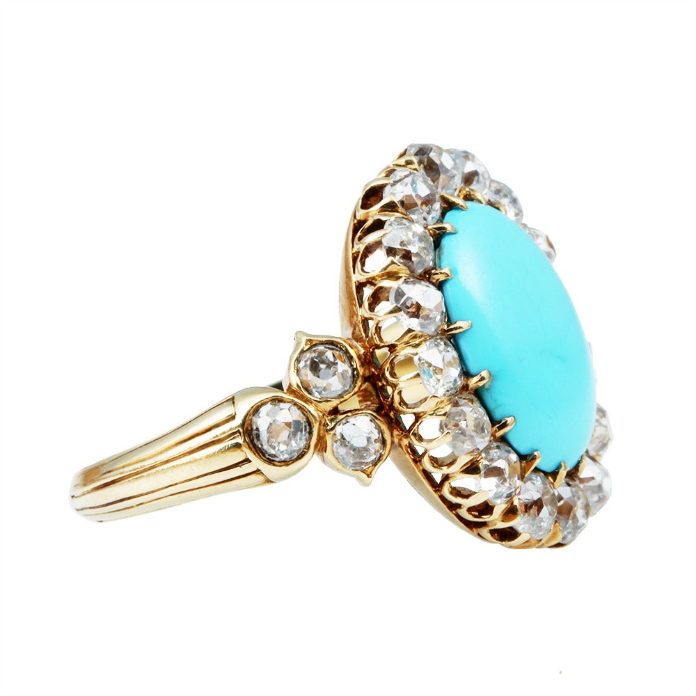 French 19th Century Turquoise & Diamond Cluster Ring 2