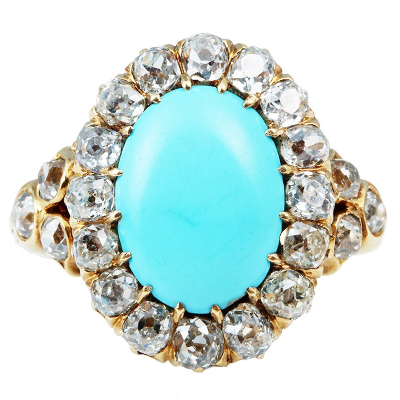 French 19th Century Turquoise & Diamond Cluster Ring 1