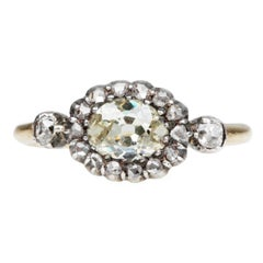 19th Century Moval Old Mine Cut Diamond Engagement Ring