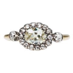 19th Century Moval Old Mine Cut Diamond Ring