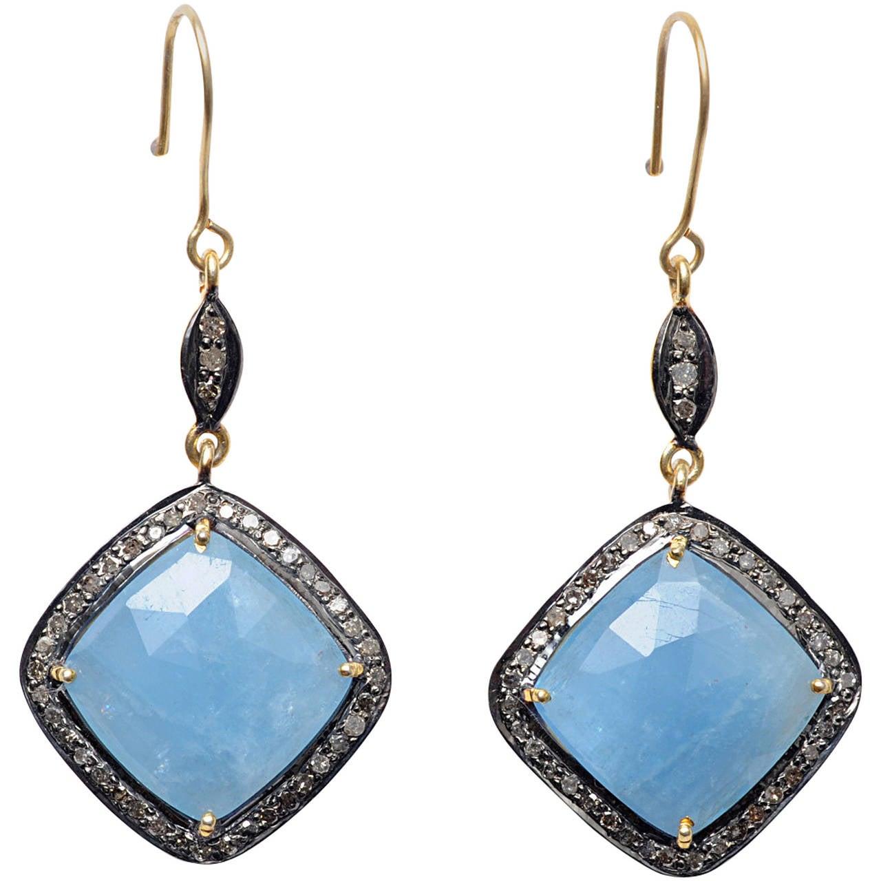 Faceted Aquamarine Pave Set Diamond Dangle Earrings At 1stdibs