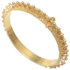 22K Gold Bangle Bracelet with Fine Granulation Work C. 1970's Etruscan Revival