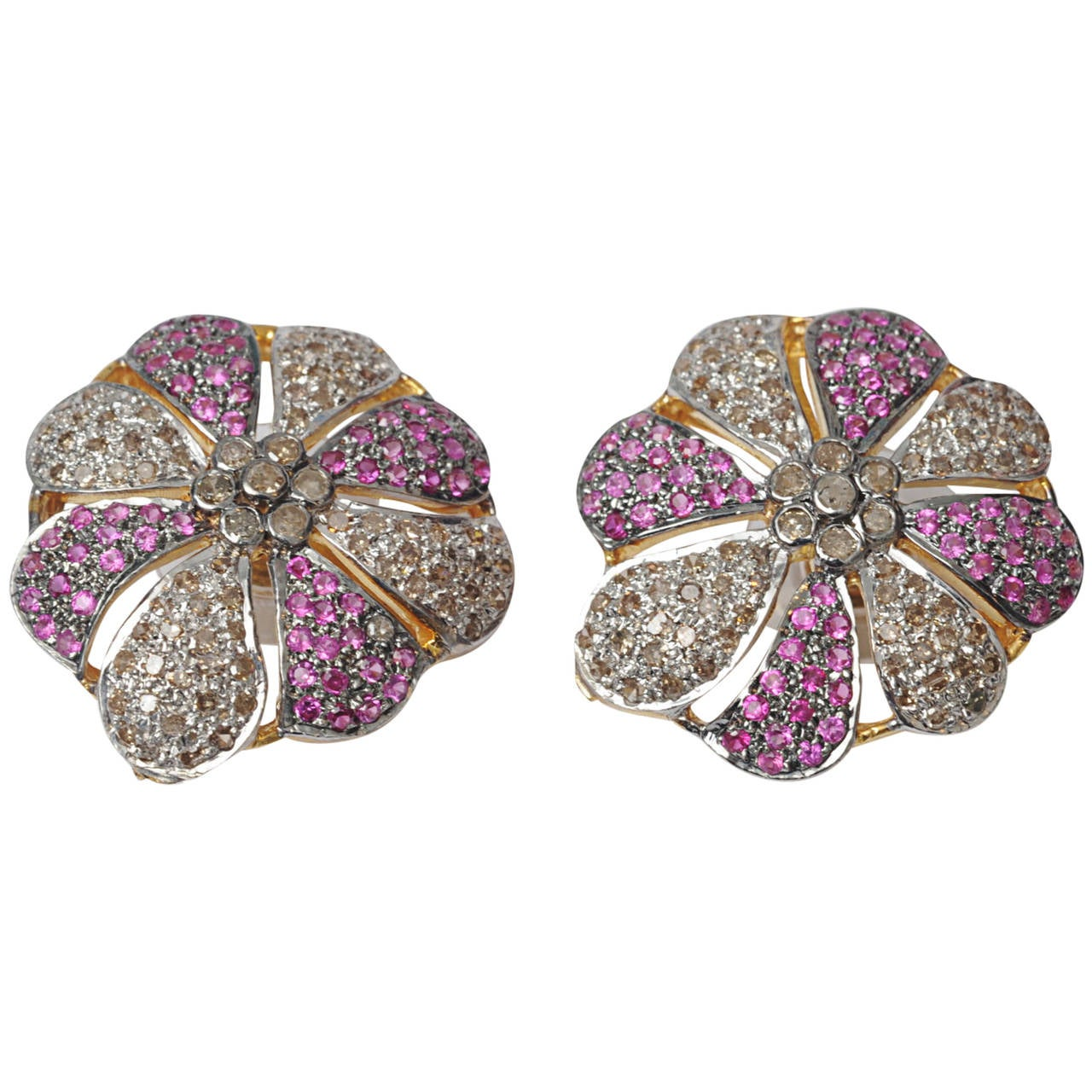 Pair of Pave Set Diamond and Ruby Flower Post Earrings