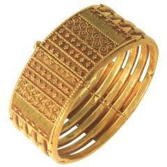 Fabulous Filigree Granulated 22K Gold Indian Bangle Bracelet, Early 1900's