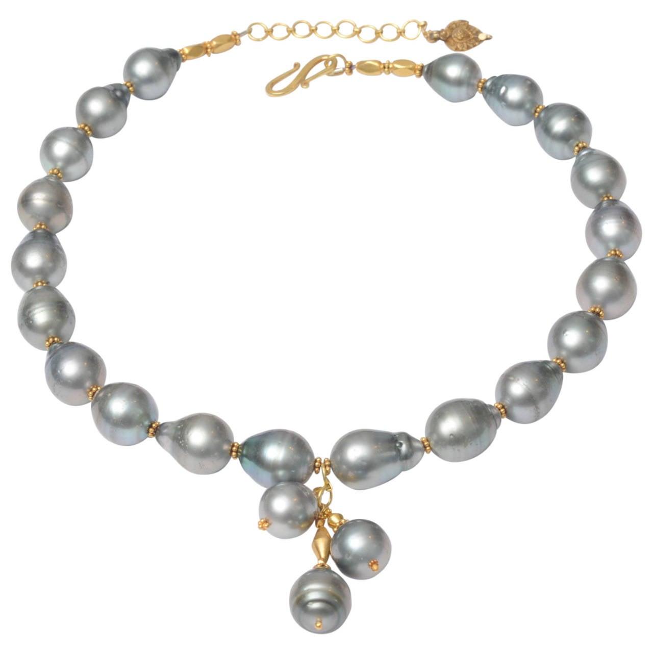 Tahitian Pearls and 18 Karat Gold Necklace by Deborah Lockhart Phillips