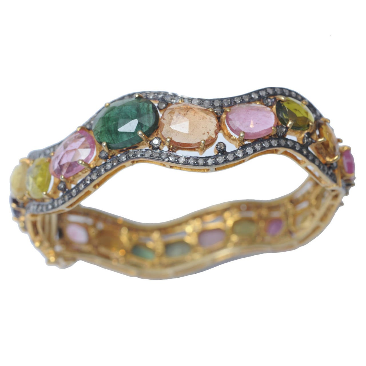 Oval Bracelet of Faceted Rainbow Tourmaline and Diamonds