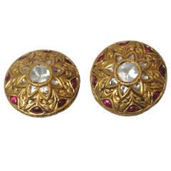 22 Karat Gold Rosecut Diamond Cabochon Ruby Earrings, circa 1960s