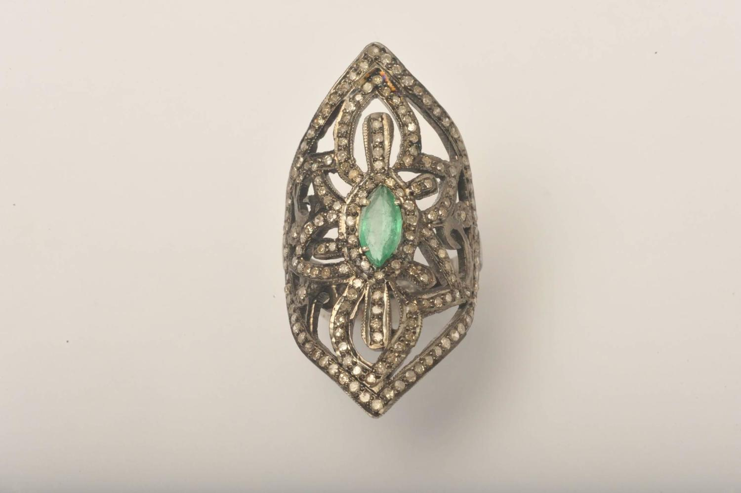 emerald sterling silver ring at 1stdibs